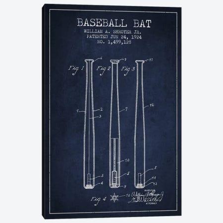 Baseball Bat Navy Blue Patent Blueprint Canvas Print #ADP2017} by Aged Pixel Canvas Wall Art