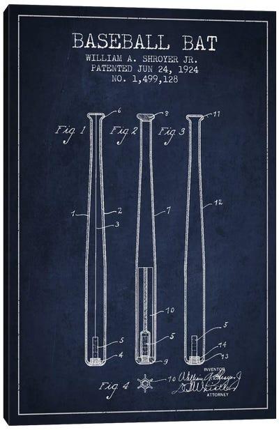 Baseball Bat Navy Blue Patent Blueprint Canvas Art Print