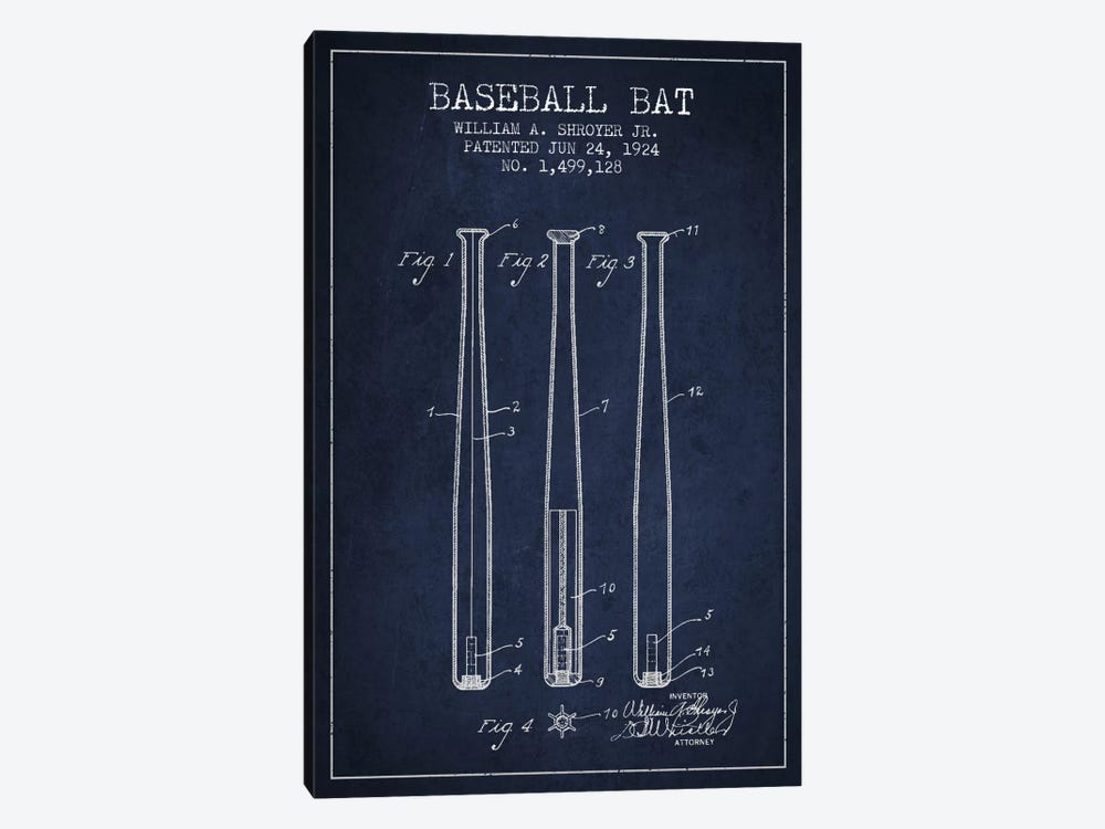Baseball Bat Navy Blue Patent Blueprint by Aged Pixel 1-piece Canvas Art