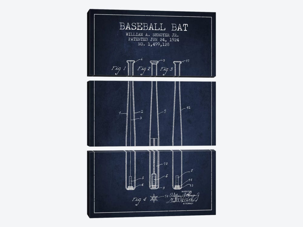 Baseball Bat Navy Blue Patent Blueprint by Aged Pixel 3-piece Canvas Art