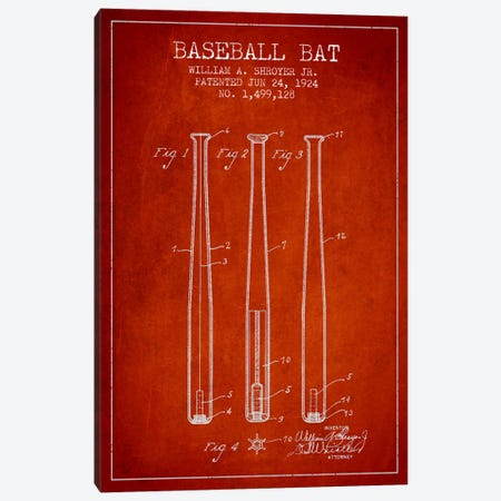 Baseball Bat Red Patent Blueprint Canvas Print #ADP2018} by Aged Pixel Art Print