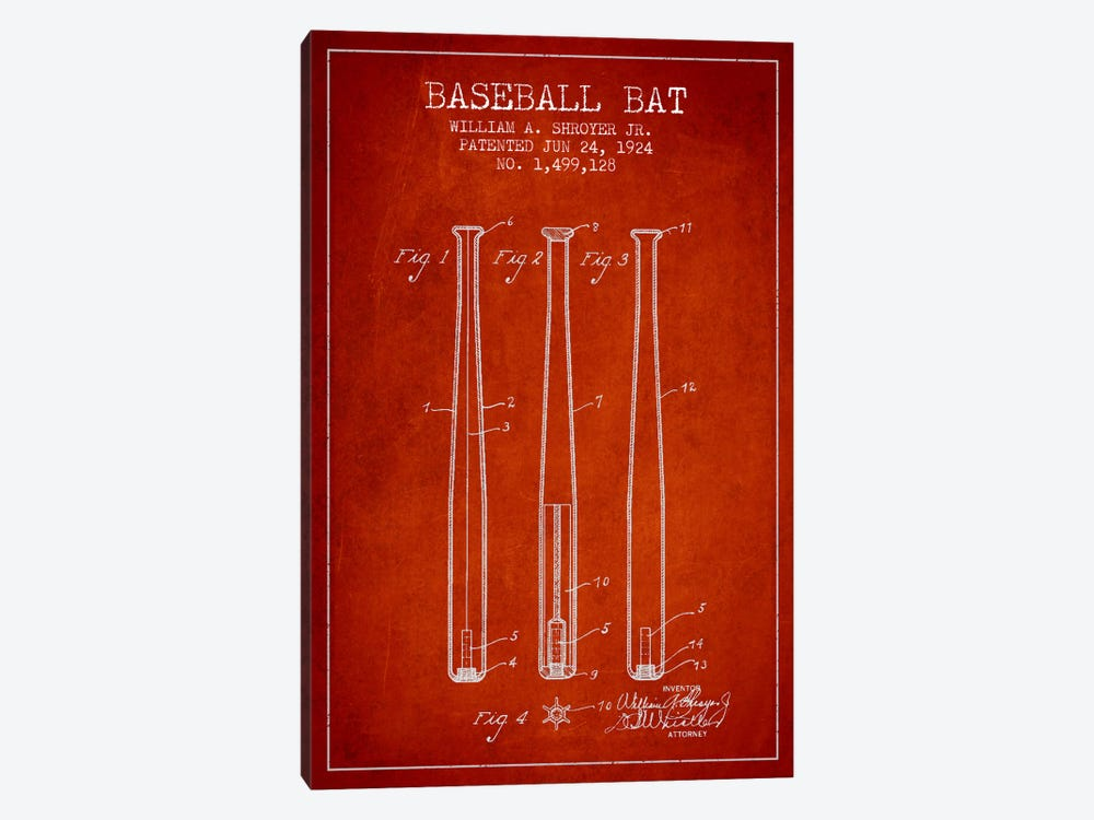 Baseball Bat Red Patent Blueprint by Aged Pixel 1-piece Canvas Art Print
