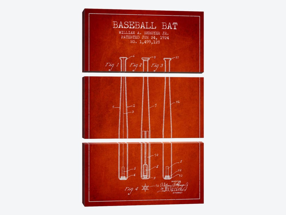 Baseball Bat Red Patent Blueprint by Aged Pixel 3-piece Canvas Print