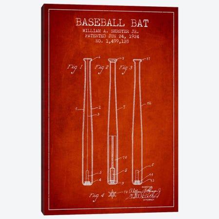Baseball Bat Red Patent Blueprint Canvas Print #ADP2018} by Aged Pixel Art Print