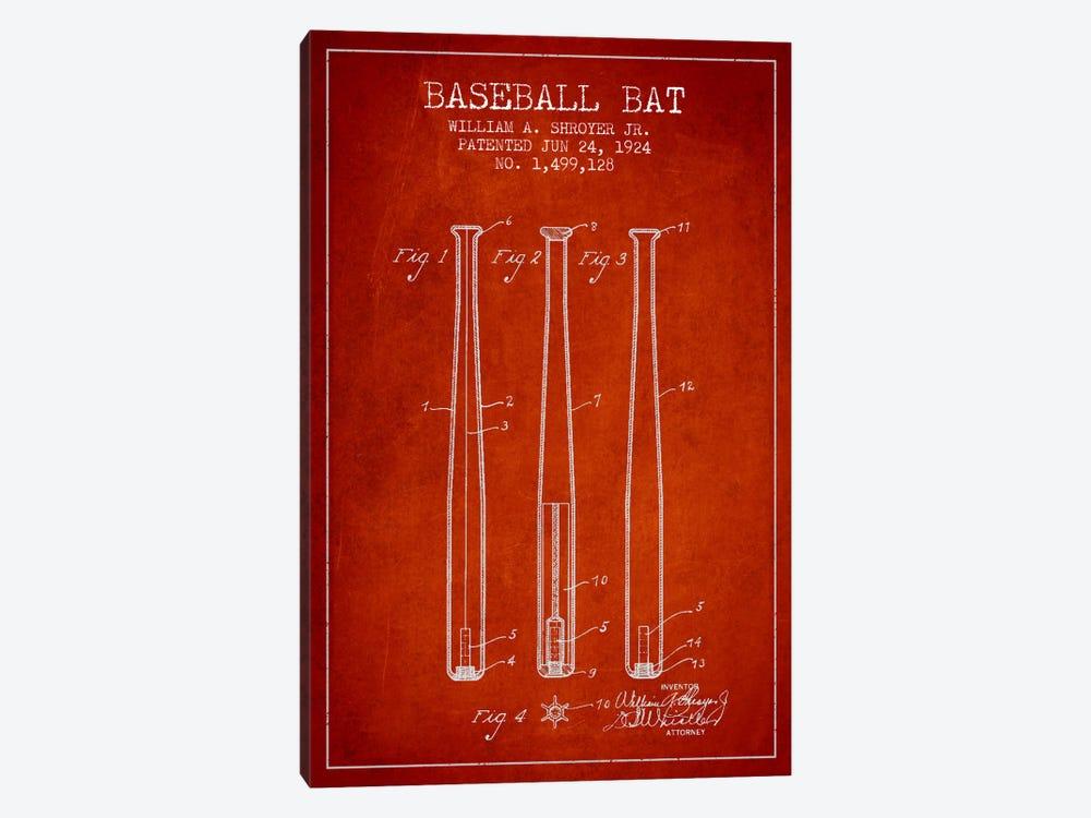 Baseball Bat Red Patent Blueprint by Aged Pixel 1-piece Canvas Art Print