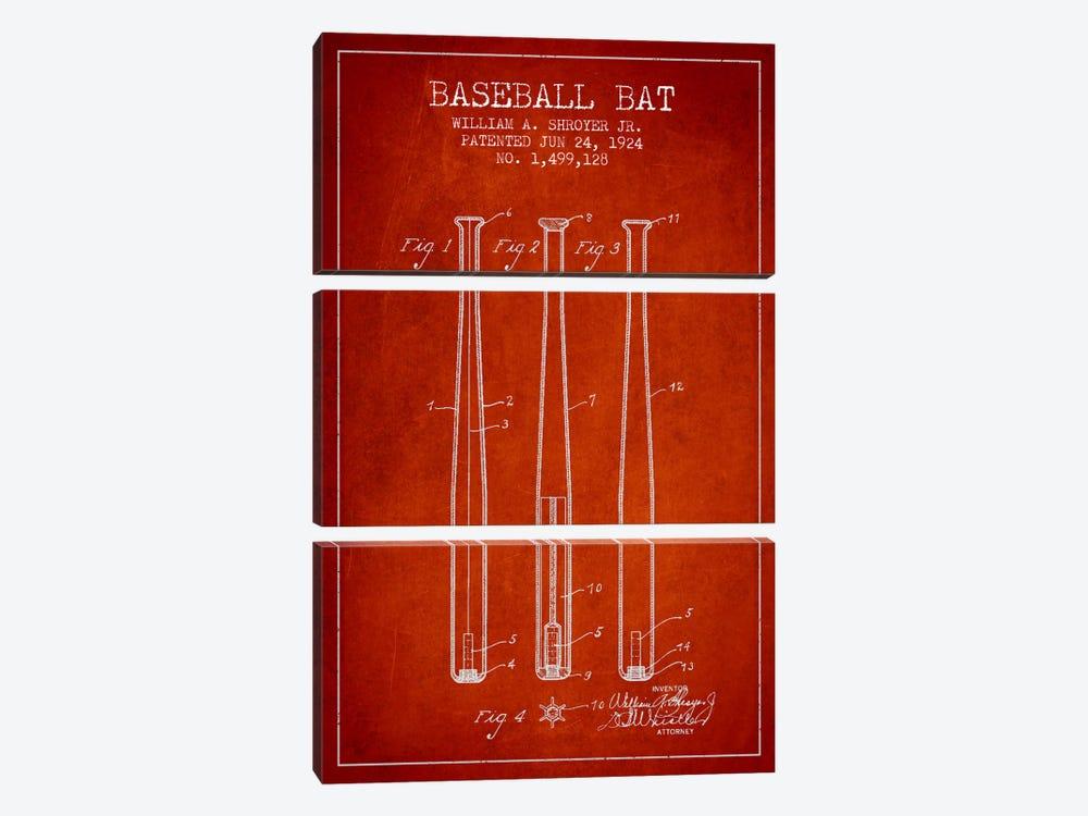 Baseball Bat Red Patent Blueprint by Aged Pixel 3-piece Canvas Print