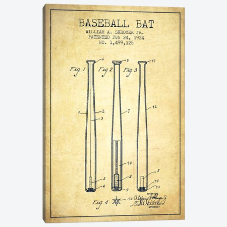 Baseball Bat Vintage Patent Blueprint Canvas Print #ADP2019} by Aged Pixel Art Print