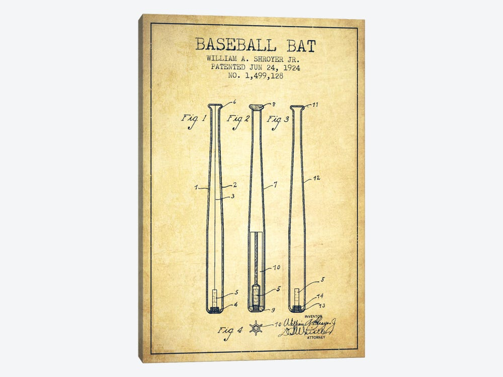 Baseball Bat Vintage Patent Blueprint by Aged Pixel 1-piece Canvas Artwork