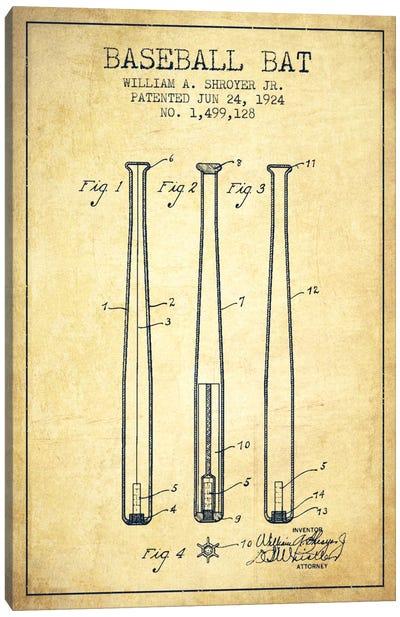 Baseball Bat Vintage Patent Blueprint Canvas Art Print