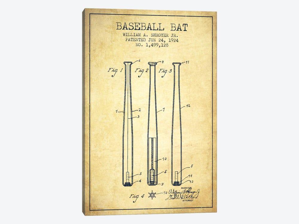 Baseball Bat Vintage Patent Blueprint by Aged Pixel 1-piece Canvas Artwork