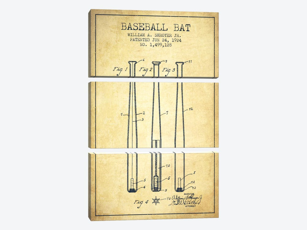 Baseball Bat Vintage Patent Blueprint by Aged Pixel 3-piece Canvas Wall Art