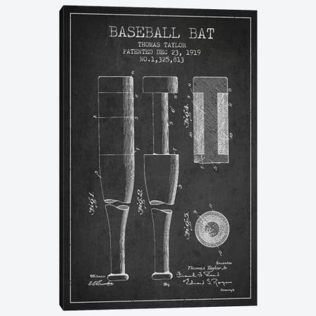 Baseball Bat Charcoal Patent Blueprint Canvas Print #ADP2020} by Aged Pixel Canvas Wall Art