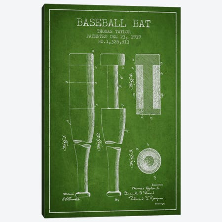 Baseball Bat Green Patent Blueprint Canvas Print #ADP2021} by Aged Pixel Canvas Artwork