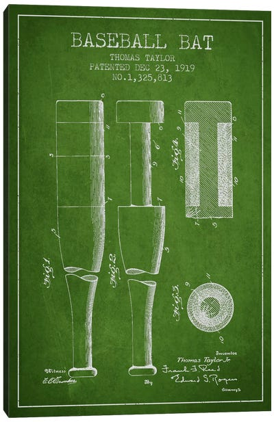 Baseball Bat Green Patent Blueprint Canvas Art Print