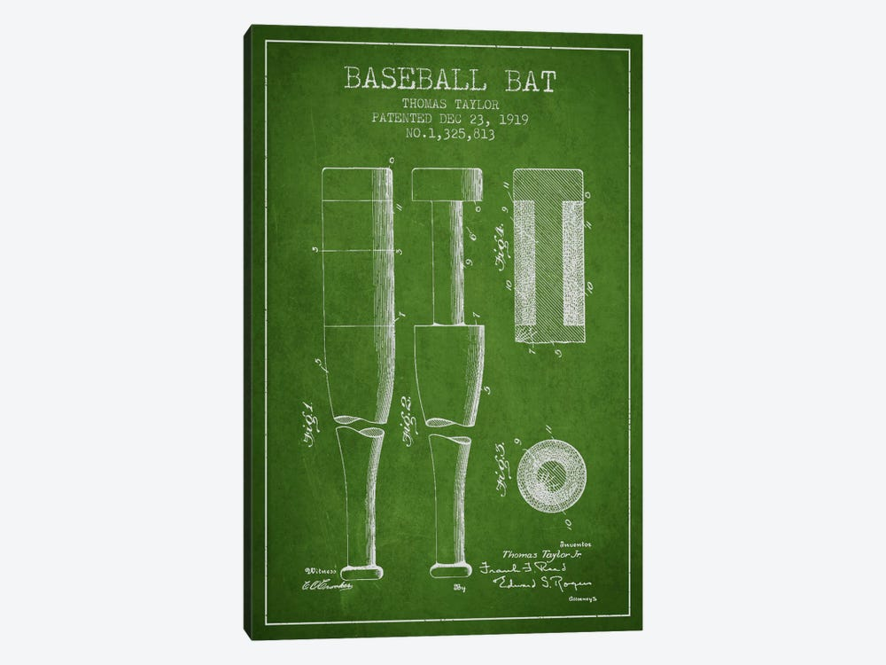 Baseball Bat Green Patent Blueprint by Aged Pixel 1-piece Canvas Print