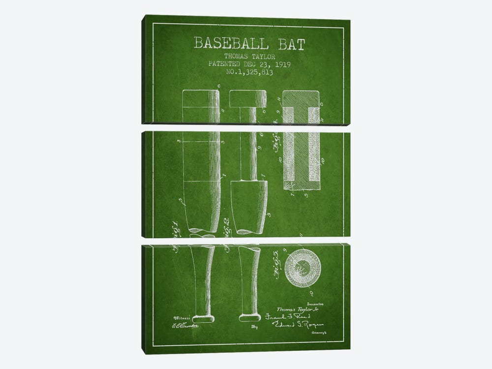 Baseball Bat Green Patent Blueprint by Aged Pixel 3-piece Art Print