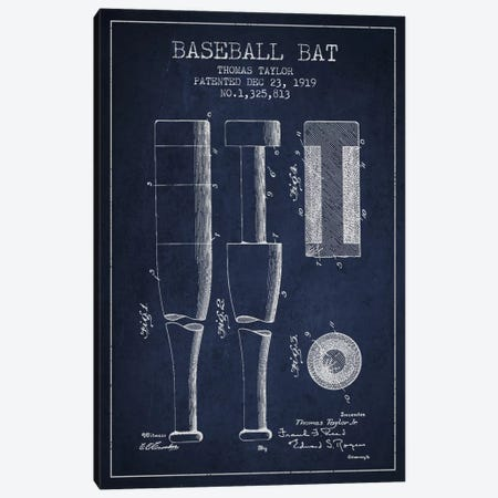 Baseball Bat Navy Blue Patent Blueprint Canvas Print #ADP2022} by Aged Pixel Canvas Art