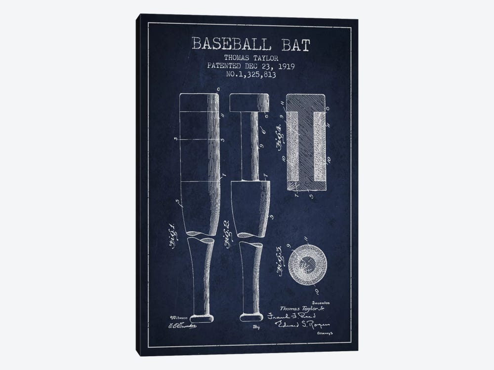 Baseball Bat Navy Blue Patent Blueprint by Aged Pixel 1-piece Canvas Artwork