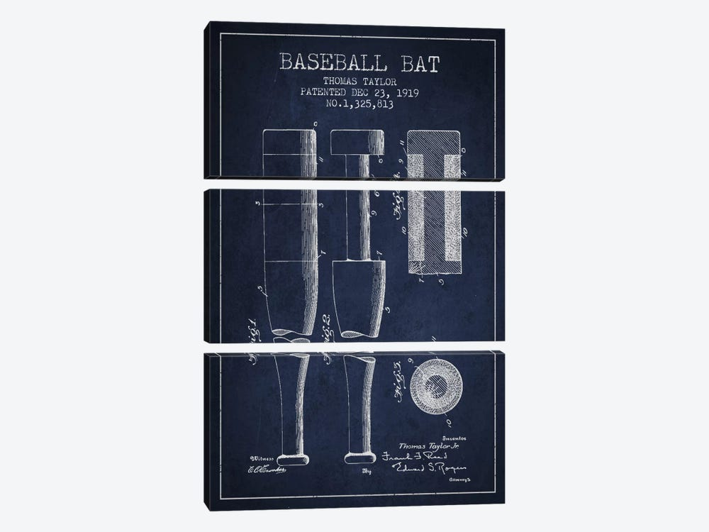 Baseball Bat Navy Blue Patent Blueprint by Aged Pixel 3-piece Canvas Wall Art