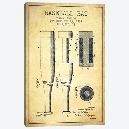 Baseball Bat Vintage Patent Blueprint Canvas Print #ADP2023} by Aged Pixel Canvas Wall Art