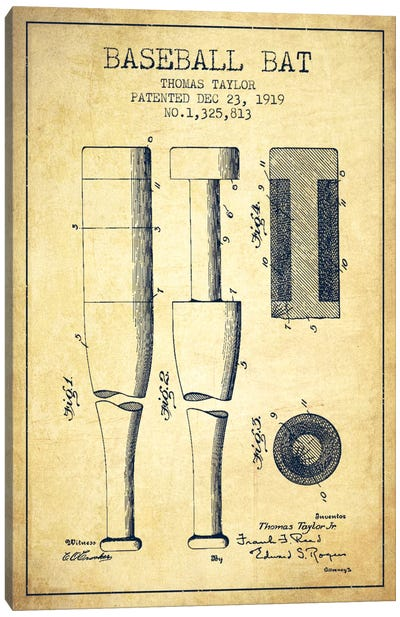 Baseball Bat Vintage Patent Blueprint Canvas Art Print