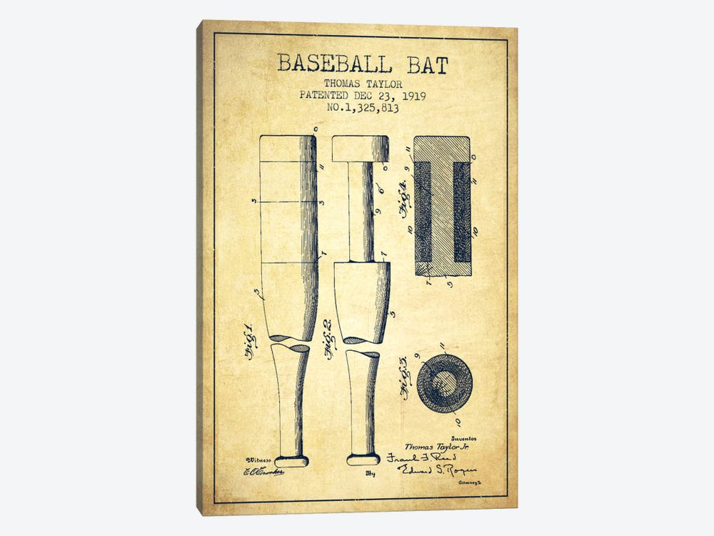 Baseball Bat Vintage Patent Blueprint by Aged Pixel 1-piece Art Print