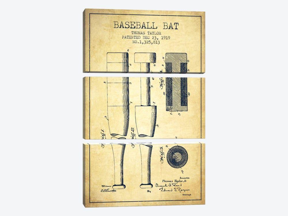 Baseball Bat Vintage Patent Blueprint by Aged Pixel 3-piece Art Print