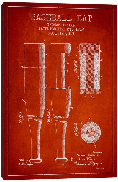Baseball Bat Light Red Patent Blueprint Canvas Art Print