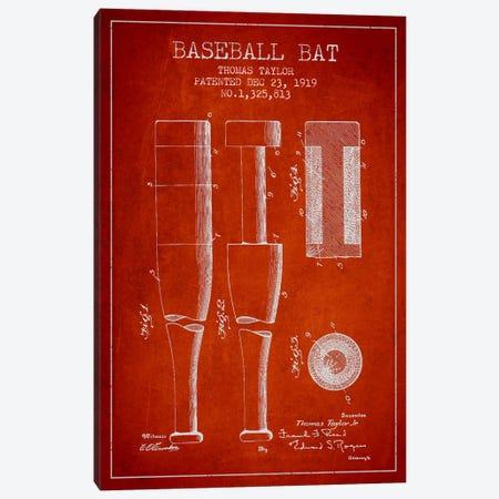 Baseball Bat Light Red Patent Blueprint Canvas Print #ADP2024} by Aged Pixel Canvas Print