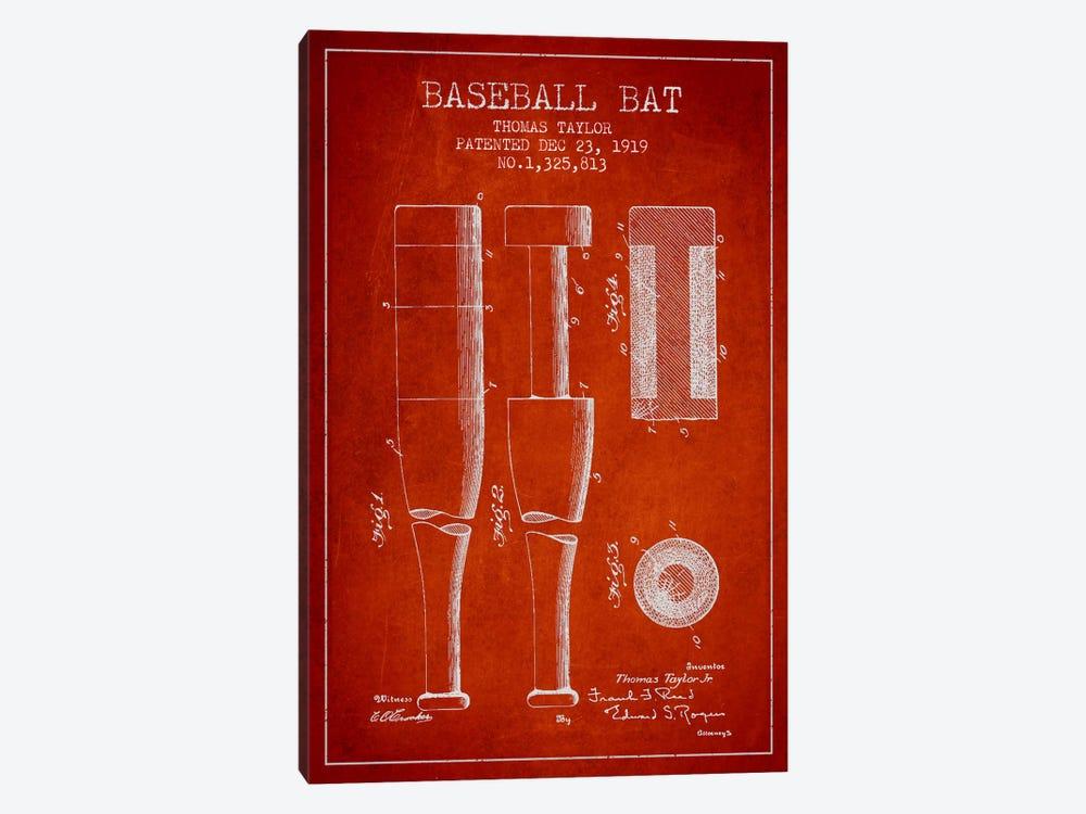Baseball Bat Light Red Patent Blueprint by Aged Pixel 1-piece Canvas Wall Art