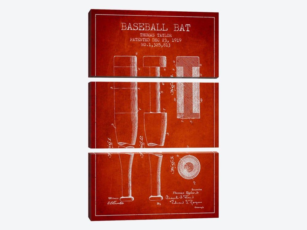 Baseball Bat Light Red Patent Blueprint by Aged Pixel 3-piece Canvas Wall Art
