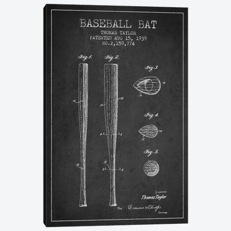 Baseball Bat Charcoal Patent Blueprint Canvas Print #ADP2025} by Aged Pixel Canvas Art Print