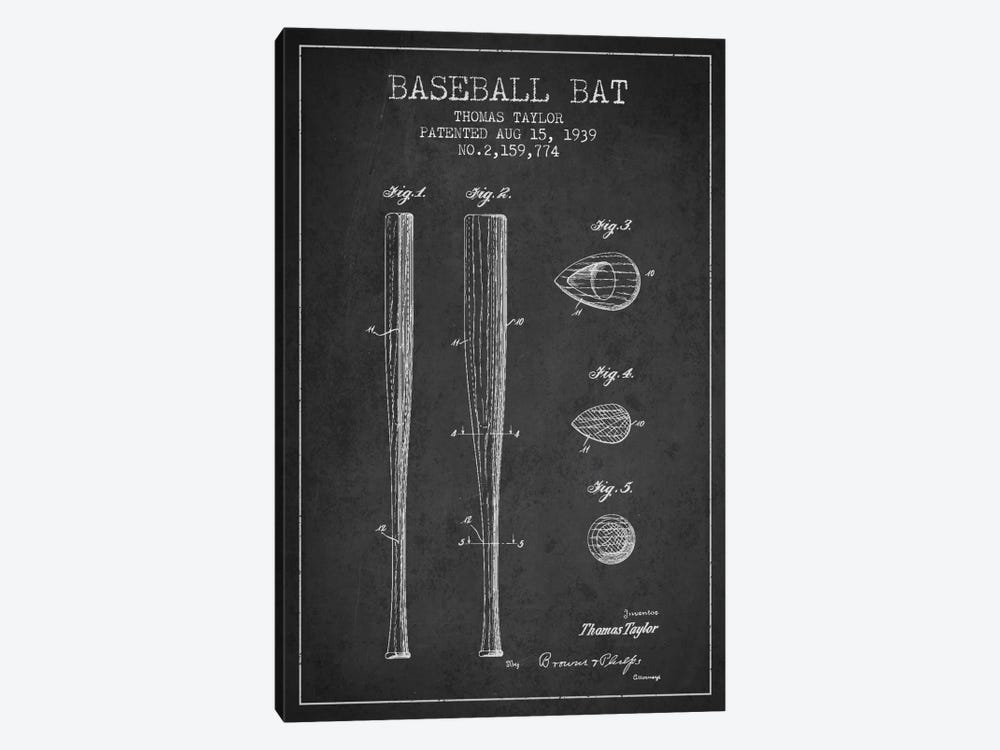 Baseball Bat Charcoal Patent Blueprint by Aged Pixel 1-piece Canvas Print