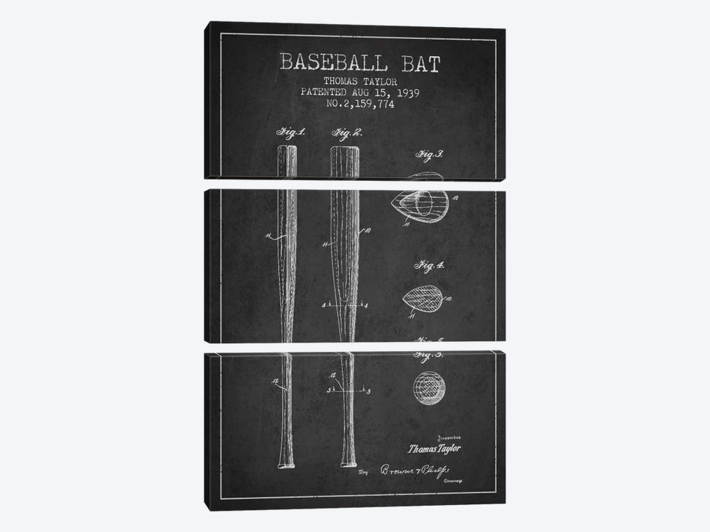 Baseball Bat Charcoal Patent Blueprint by Aged Pixel 3-piece Art Print