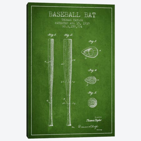 Baseball Bat Green Patent Blueprint Canvas Print #ADP2026} by Aged Pixel Art Print