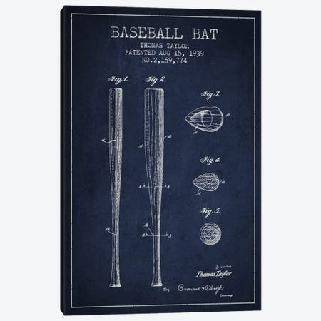Baseball Bat Navy Blue Patent Blueprint Canvas Print #ADP2027} by Aged Pixel Art Print