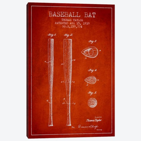 Baseball Bat Red Patent Blueprint Canvas Print #ADP2028} by Aged Pixel Canvas Artwork