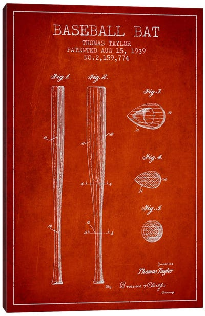 Baseball Bat Red Patent Blueprint Canvas Art Print