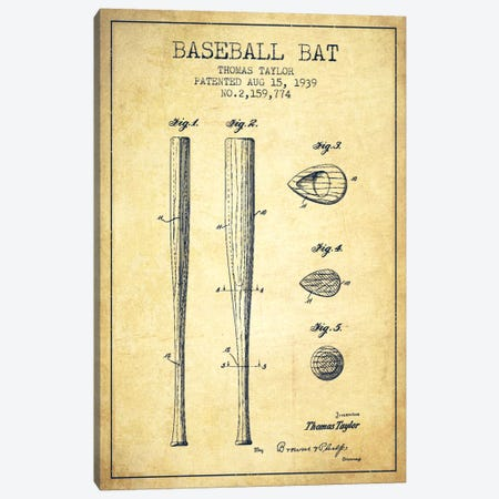 Baseball Bat Vintage Patent Blueprint Canvas Print #ADP2029} by Aged Pixel Canvas Artwork