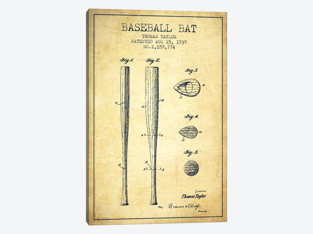 Baseball Bat Vintage Patent Blueprint by Aged Pixel 1-piece Canvas Print