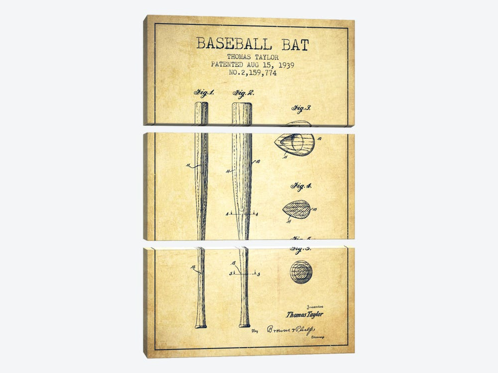 Baseball Bat Vintage Patent Blueprint by Aged Pixel 3-piece Canvas Art Print