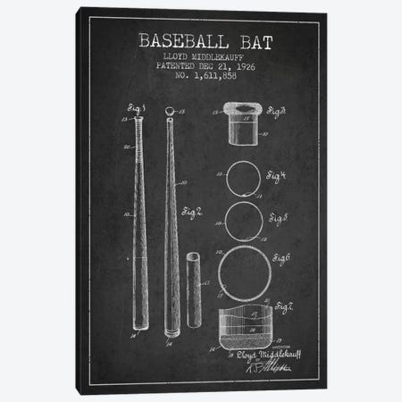 Baseball Bat Charcoal Patent Blueprint Canvas Print #ADP2030} by Aged Pixel Canvas Print