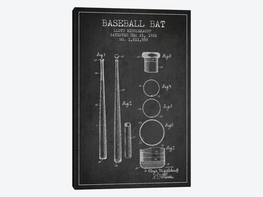 Baseball Bat Charcoal Patent Blueprint 1-piece Art Print