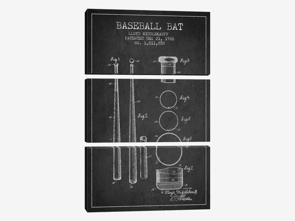 Baseball Bat Charcoal Patent Blueprint by Aged Pixel 3-piece Canvas Print