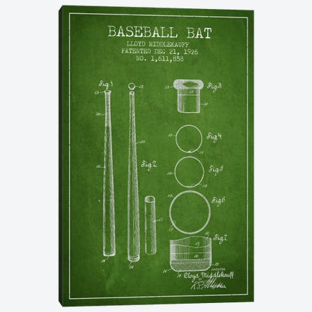 Baseball Bat Green Patent Blueprint Canvas Print #ADP2031} by Aged Pixel Canvas Print
