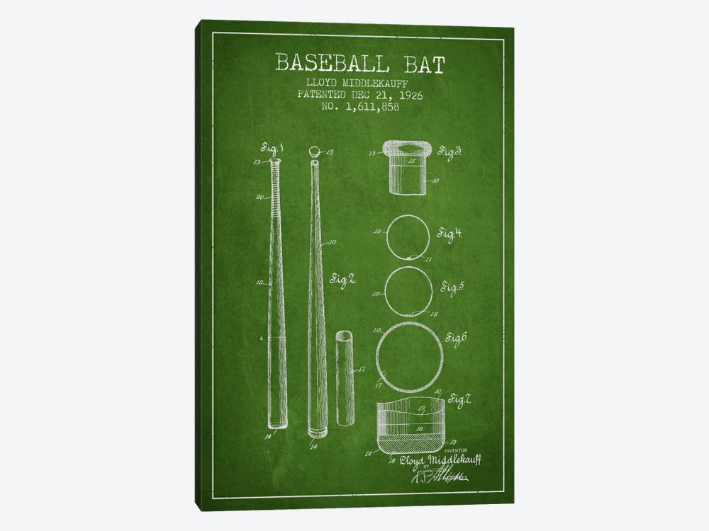 Baseball Bat Green Patent Blueprint by Aged Pixel 1-piece Canvas Artwork