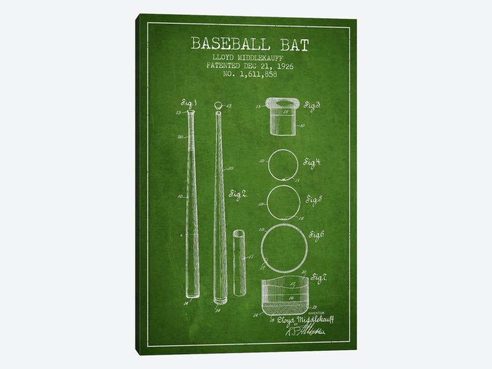 Baseball Bat Green Patent Blueprint by Aged Pixel 1-piece Canvas Artwork