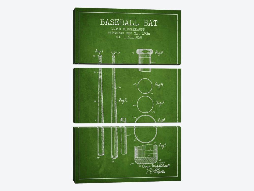 Baseball Bat Green Patent Blueprint by Aged Pixel 3-piece Canvas Artwork