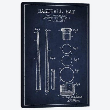 Baseball Bat Navy Blue Patent Blueprint Canvas Print #ADP2032} by Aged Pixel Art Print