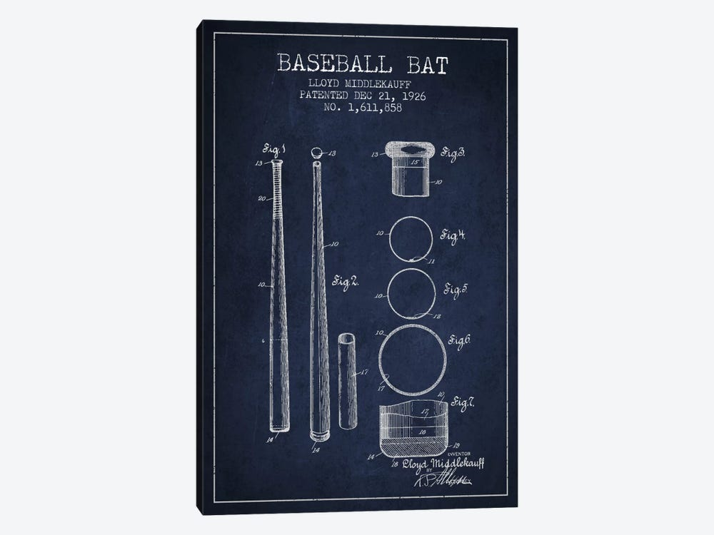 Baseball Bat Navy Blue Patent Blueprint by Aged Pixel 1-piece Art Print